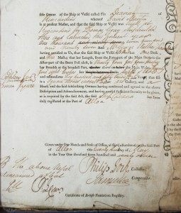 CE67/2/11: Register of Shipping extract of the 'Diana', May 1797