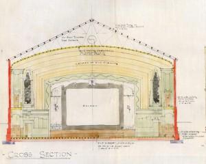 Allan Park Cinema, cross section, 1936