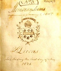 Dr Lucas Diary Vol 3 1815 - 1821 front page