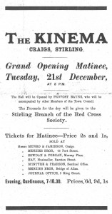 Advertisement from the Stirling Journal for the 'Kinema' , 1915