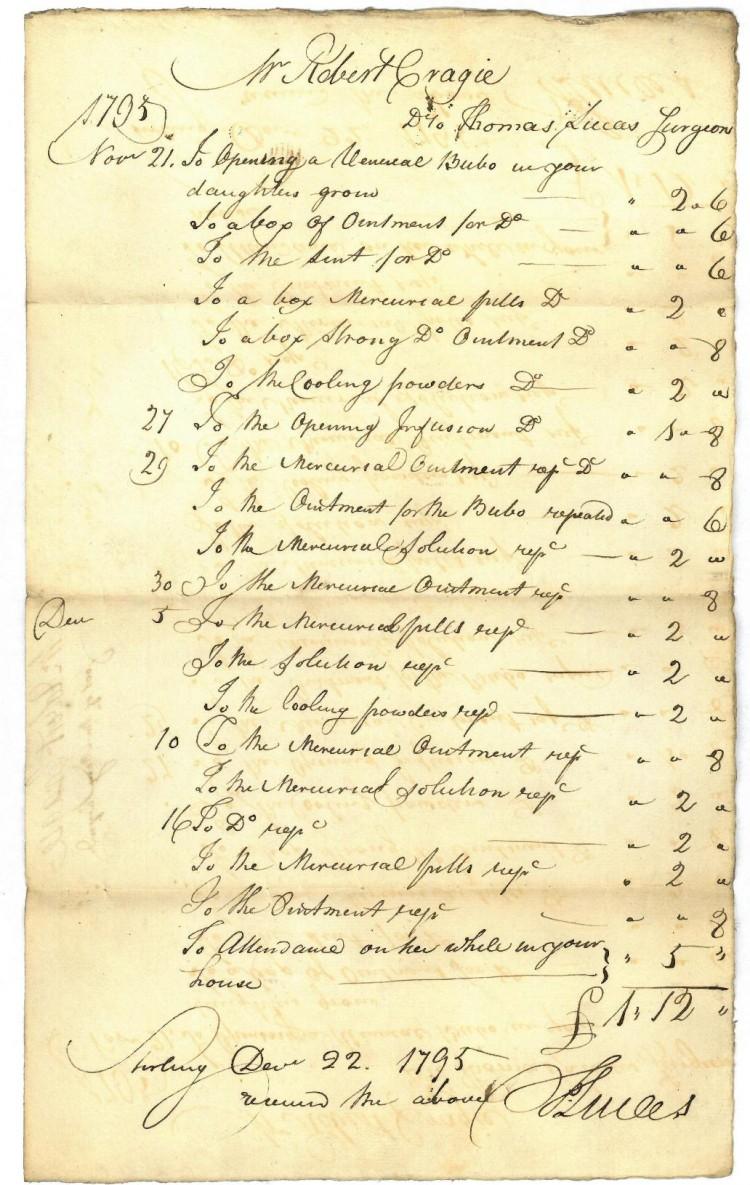 Medical bill of Dr Lucas for treatment given in November/December 1795