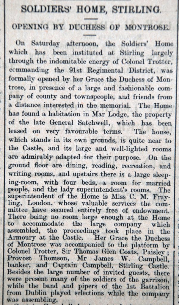 Stirling Observer Article re opening of Soldiers' Home, 1902