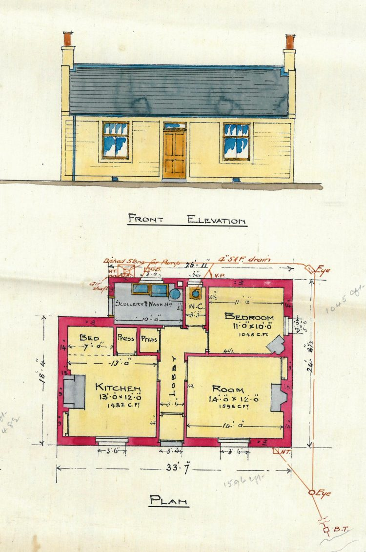 North British Railway, Killearn - Agents House - Plan and elevation