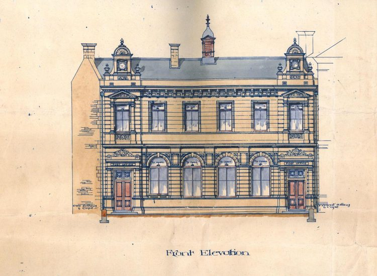 Stirling Post Office, Maxwell Place, 1894, front elevation