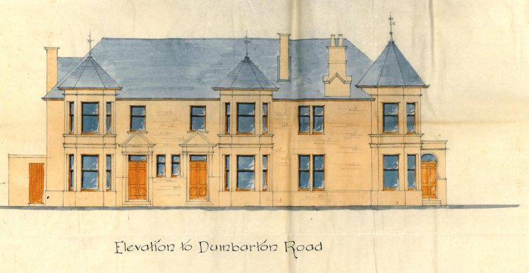 Flats at Dumbarton Road/Glebe Avenue 1896, front elevation