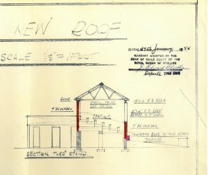 Plan of new roof, 1955