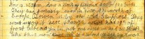 Diary entry 13th November 1919
