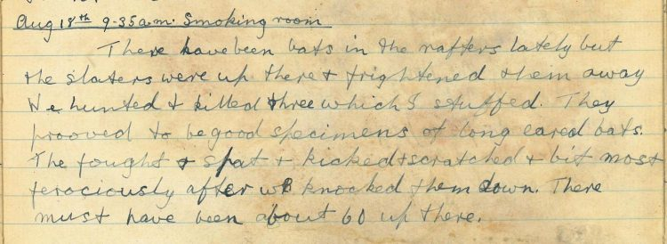 Diary entry 18th August 1920