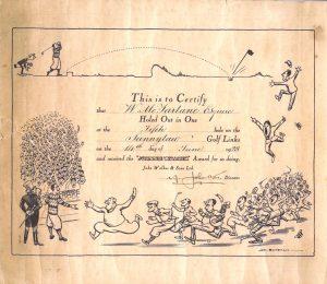 'Hole in One' certificate, W. McFarlane, 14th June 1928