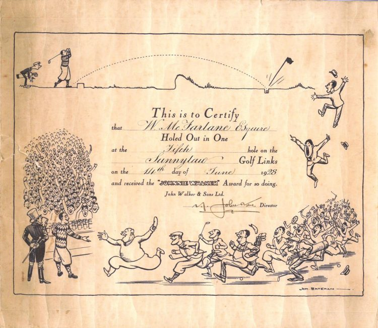 'Hole in One' certificate, W. McFarlane, 14th June 1928