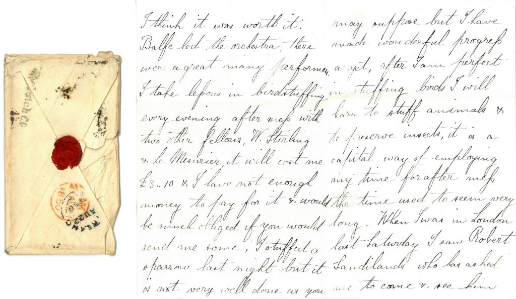 PD100, letter from John Stirling to his mother, Christian, 29 Aug 1850