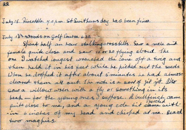 Diary entries for 15th and 16th July 1921