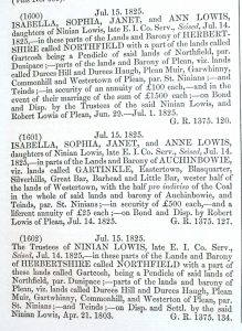 Sasine abridgments, Stirlingshire, 1825