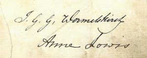 A0070, signatures from marriage contract between Anne and John, 1826
