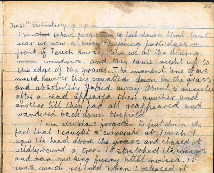 Diary entry for 30th December 1921