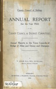 SCC/4/1/1/28 1922 Stirling County Council Medical Officer of Health report