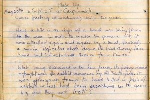 Diary entry 20th August to 21st September 1922
