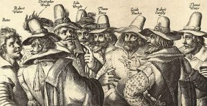 The Gunpowder Plot Conspirators from an engraving, 1605