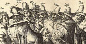 The Gunpowder Plot Conspirators from an engraving, 1605