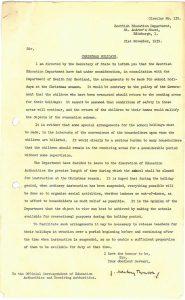 Scottish Education Department letter, September 1939