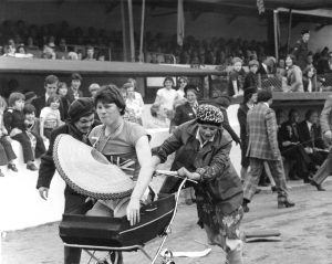 Pram race Annfield Stadium, Stirling, 1977