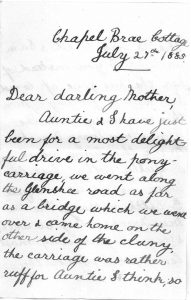 Louisa's letter to her mother 1885 Page 1