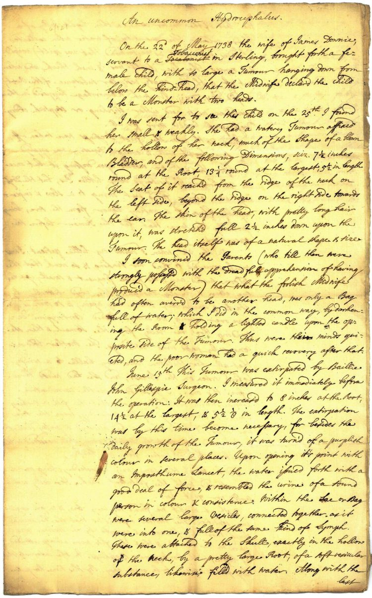 Doctor's report May/June 1738 Page 1