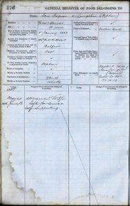 Jane Livingstone, eldest child's entry in the Register of the Poor
