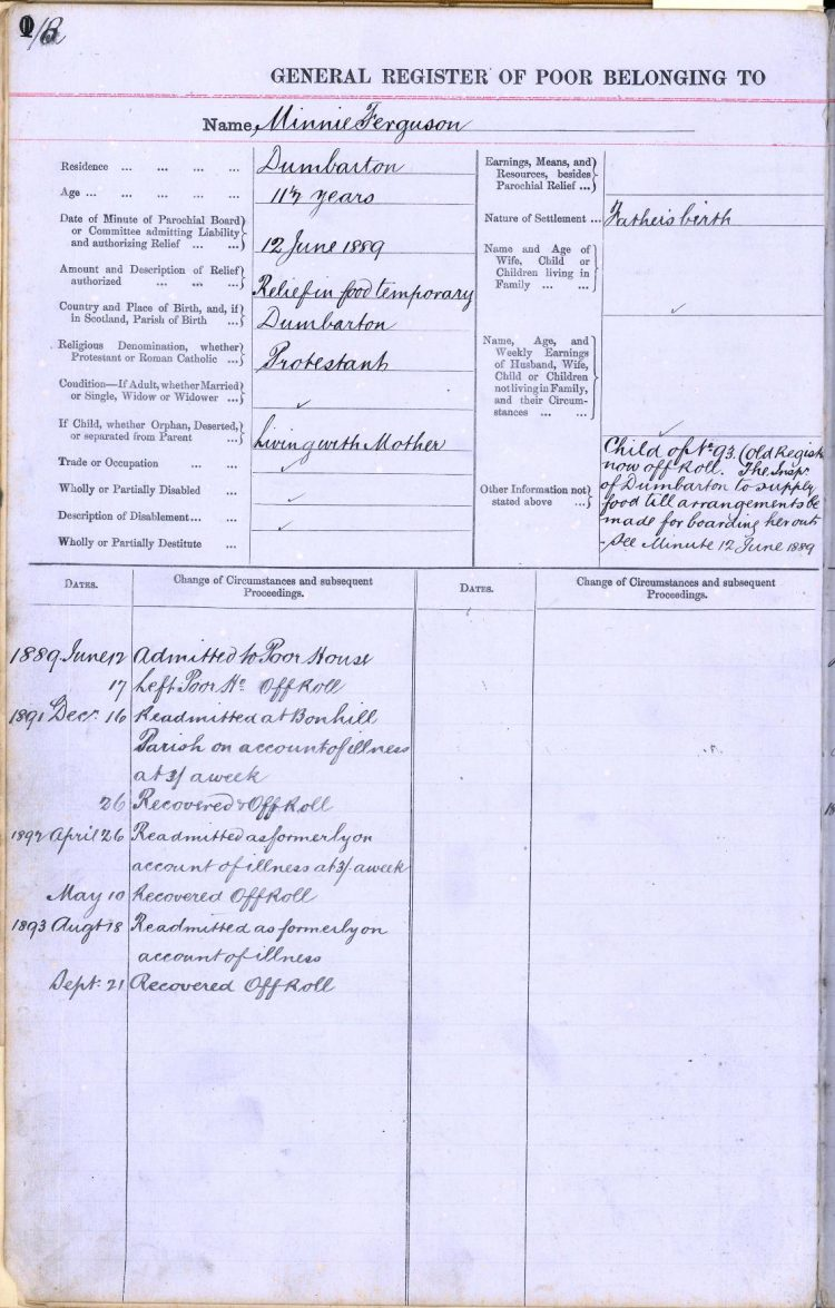 Minnie Ferguson's entry in the Balquhidder Register of the Poor
