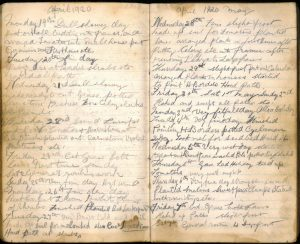 John Bruce's diary April and May 1920