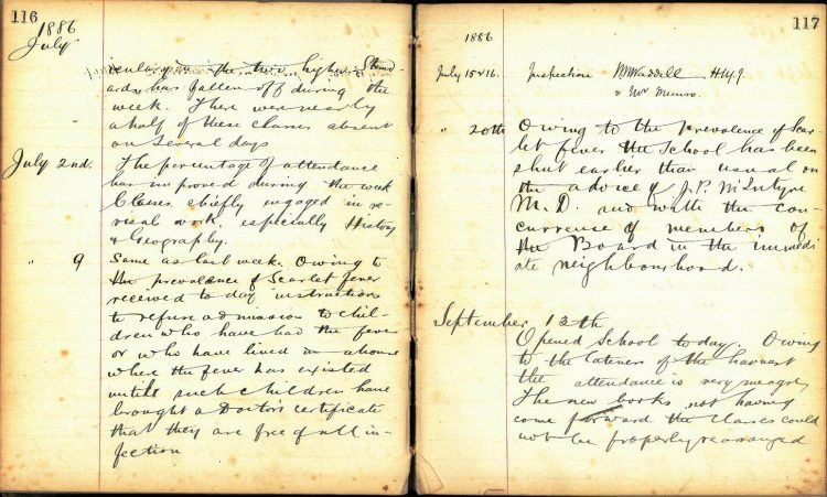 Doune Primary School log book 1886