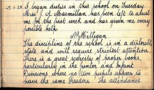 Port of Menteith School Head Teacher's summary 1928