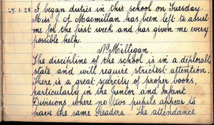 Port of Menteith School Head Teacher's summary 1928