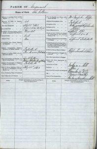 John Coltman's entry in the Garunnock Parish Children's Separate Register