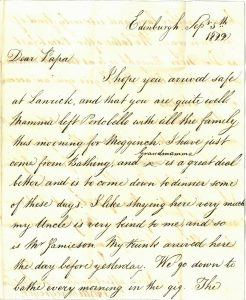 John McGregor letter to his father, 1822