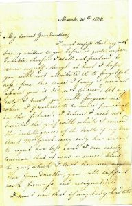 John McGregor letter to his Grandmother 1826