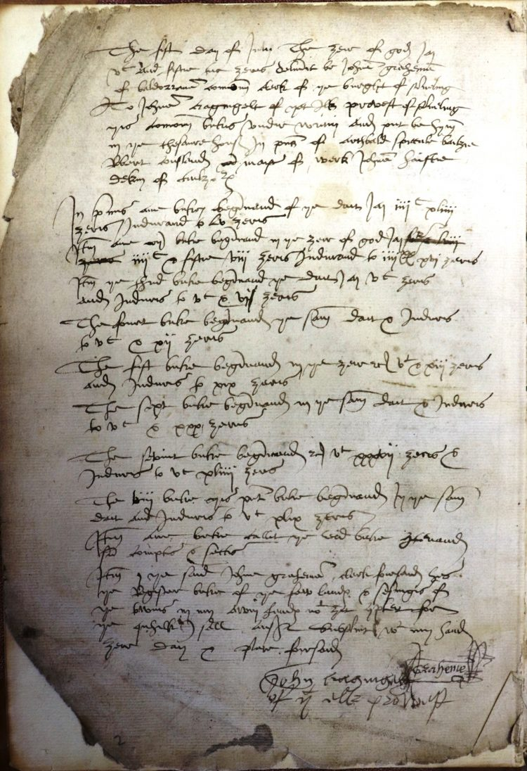 Stirling Burgh Court book entry 5th July 1552