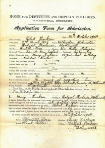 Admission form 1908