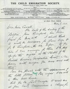 Child Emigration Society letter May 1913