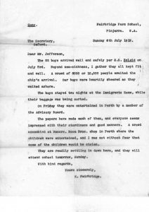Fairbridge Farm School letter July 1913