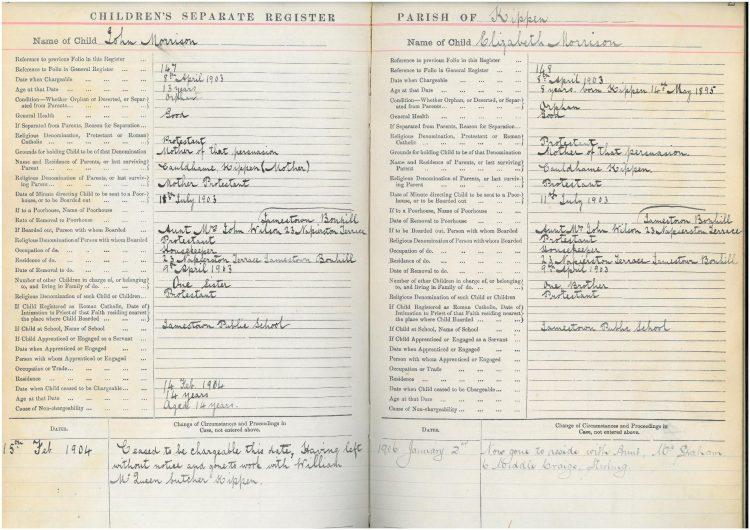 Children's register entry for John and Elizabeth