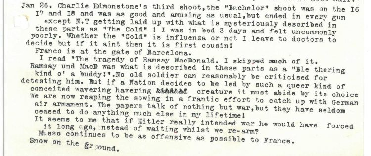 Diary entry for 26th January 1939