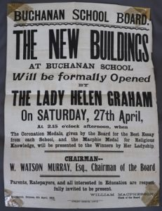 Public notice advertising the opening of new buildings at Buchanan school - 1912
