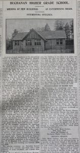 Stirling Observer article regarding the opening of new Buchanan school buildings - 4 May 1912