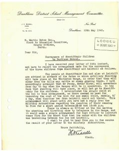 Letter School Management Committee to Perthshire Education Authority 25 May 1943