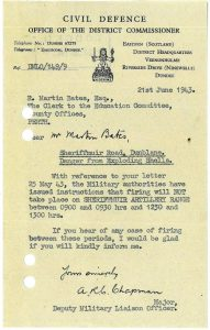 Letter agreeing to suspend shelling 21 June 1943