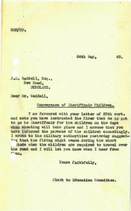 Letter Clerk to the Education Committee 26 May 1943