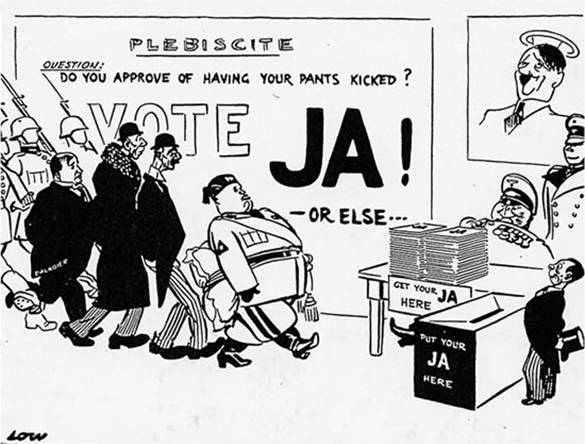 Cartoon about the referendum held by the Nazis in Austria in May 1938