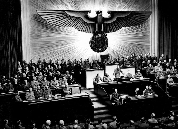 Hitler giving a speech in the Reichstag