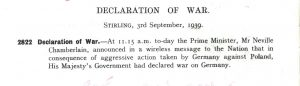 Stirling Town Council miminute 3rd September 1939